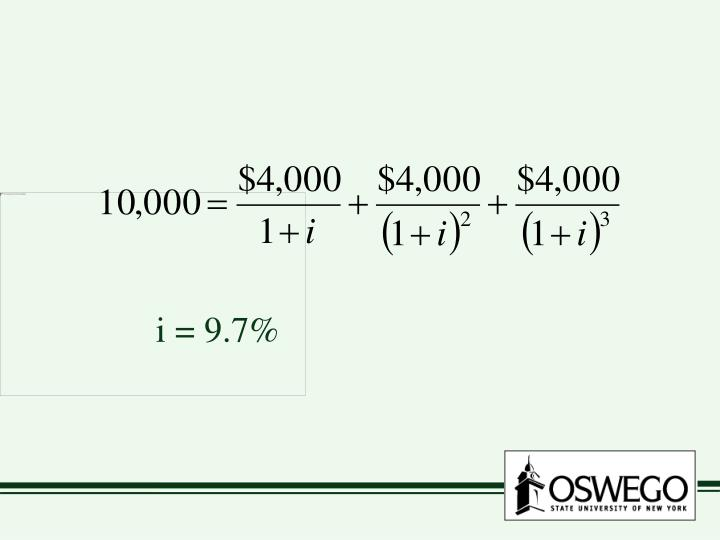 i = 9.7%