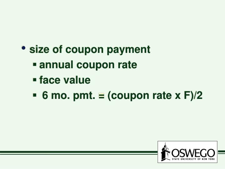 size of coupon payment