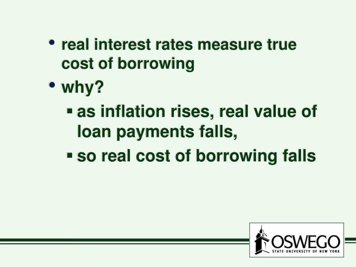 real interest rates measure true cost of borrowing