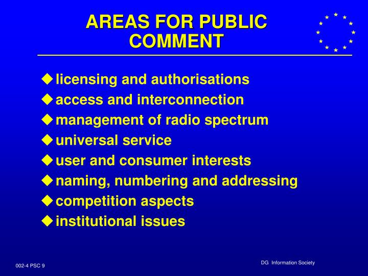 AREAS FOR PUBLIC COMMENT