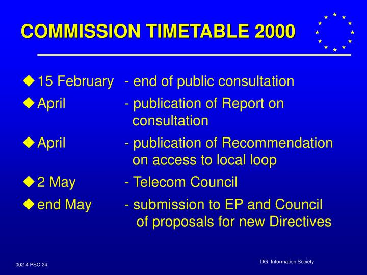 COMMISSION TIMETABLE 2000