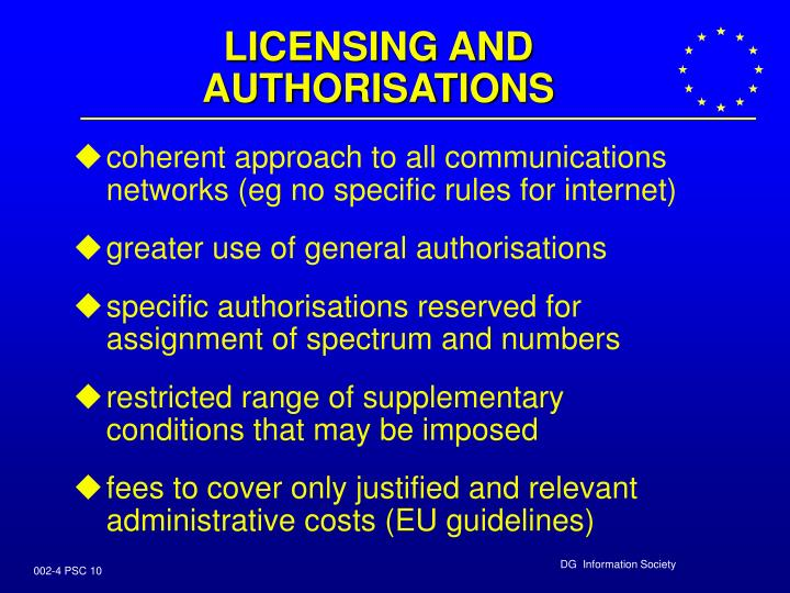 LICENSING AND AUTHORISATIONS