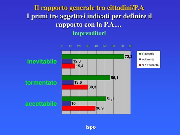 Il rapporto generale tra cittadini/P.A
