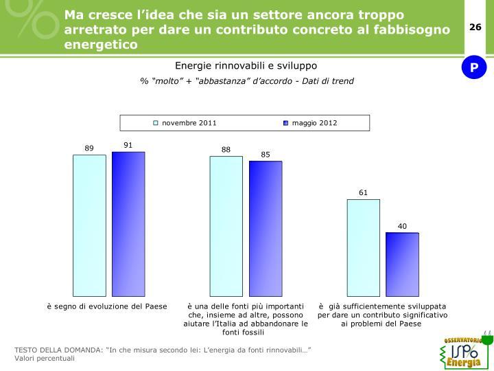 Ma cresce l'idea che sia un settore ancora troppo arretrato per dare un contributo concreto al fabbisogno energetico