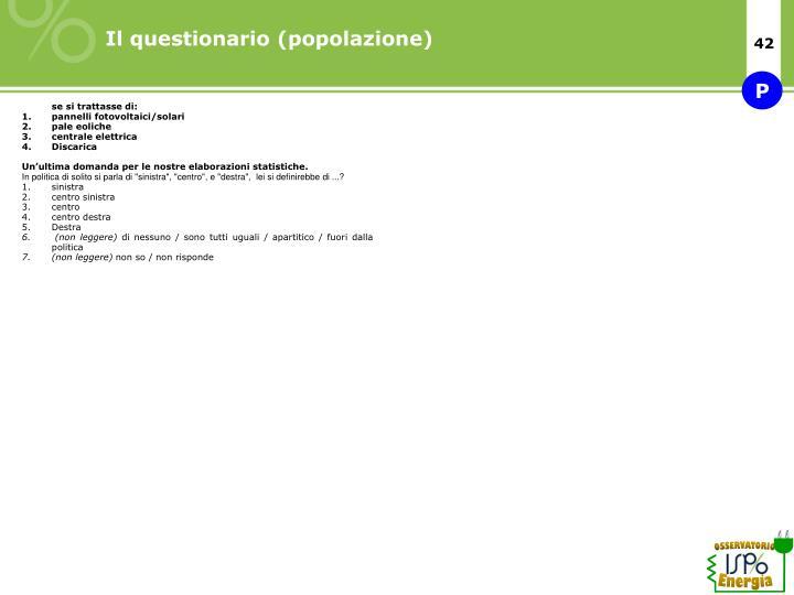 Il questionario (popolazione)