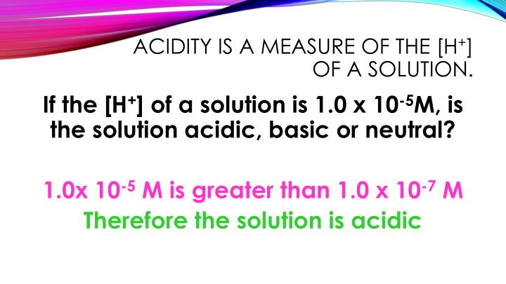 acidity is a measure of the [H