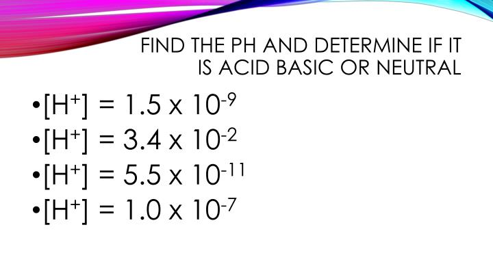 Find the pH and determine if it is acid basic or neutral