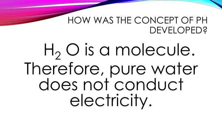 How was the concept of pH developed?