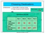 choosing destinations