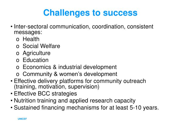 Challenges to success