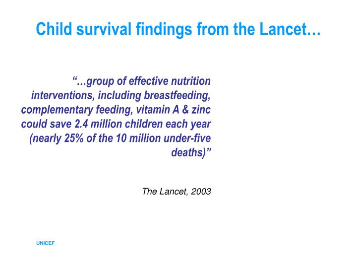 Child survival findings from the Lancet…