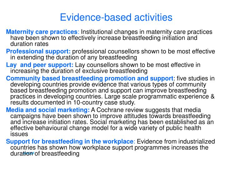 Evidence-based activities