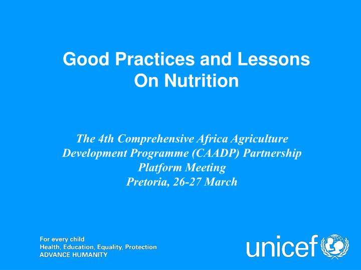 Good practices and lessons on nutrition