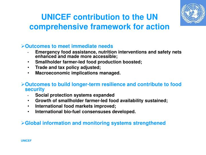 UNICEF contribution to the UN comprehensive framework for action
