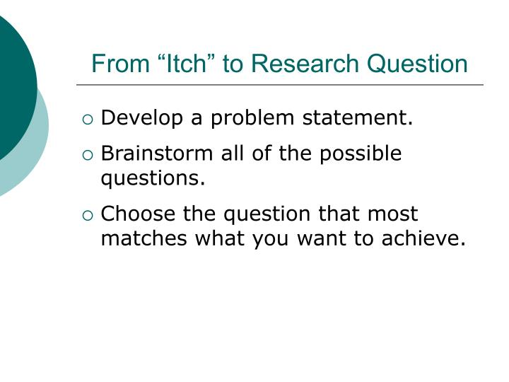 "From ""Itch"" to Research Question"
