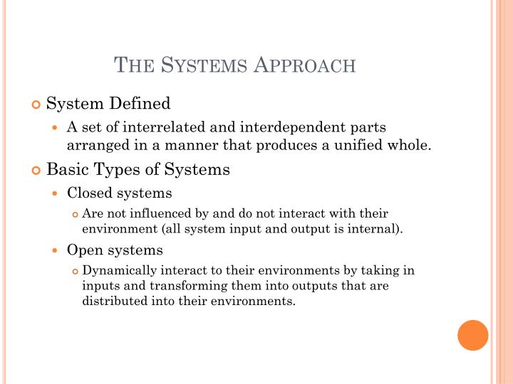 The Systems Approach