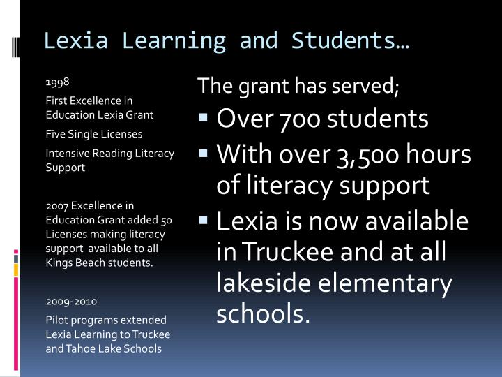Lexia Learning and Students…