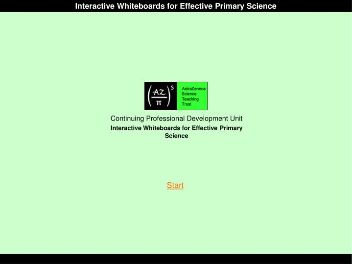 Interactive Whiteboards for Effective Primary Science