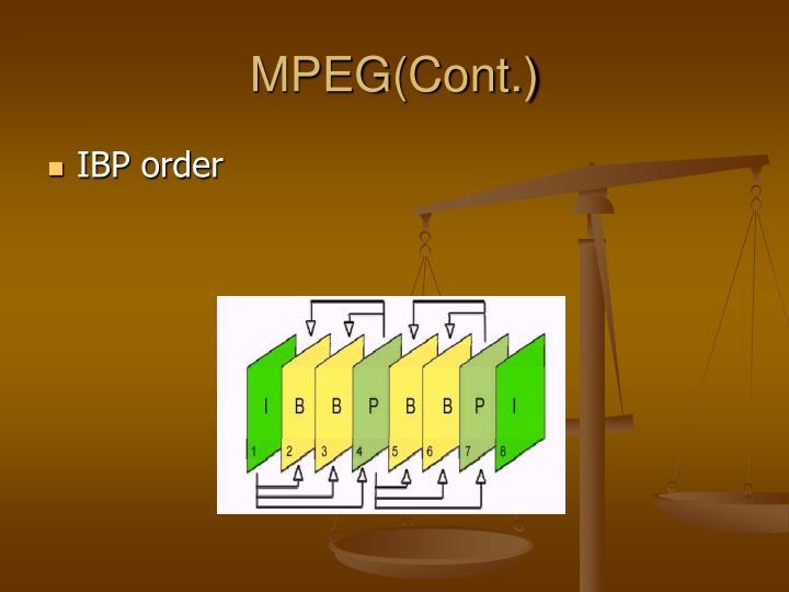 MPEG(Cont.)