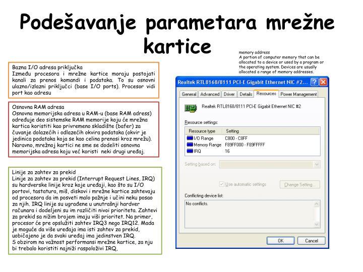 Podešavanje parametara mrežne kartice