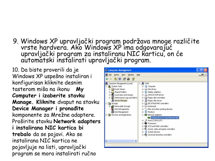 9. Windows XP upravljački program