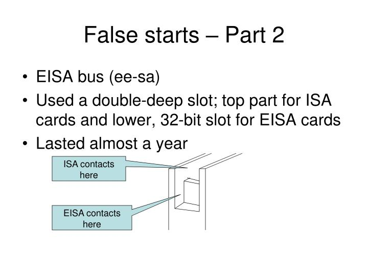 False starts – Part 2