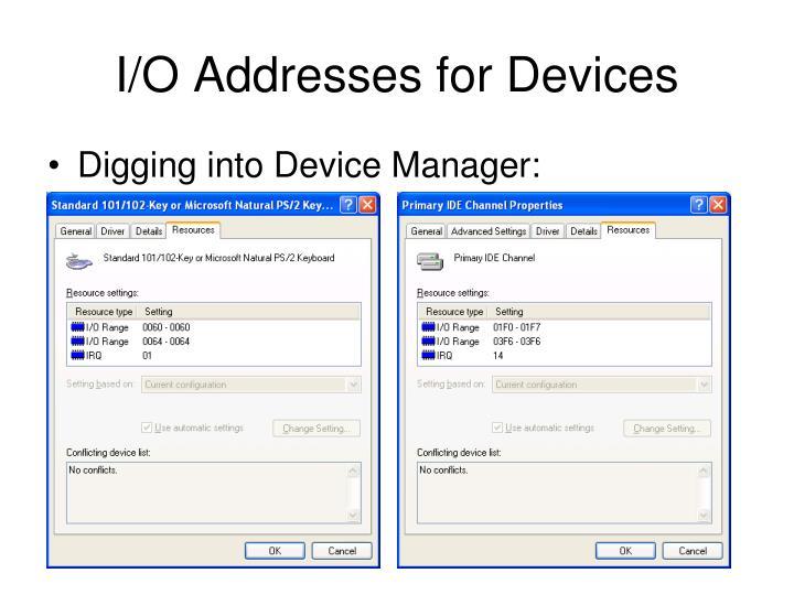 I/O Addresses for Devices