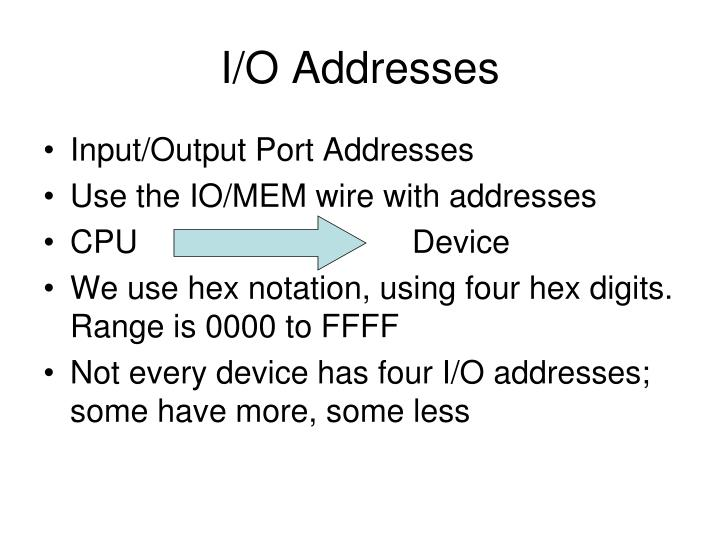 I/O Addresses