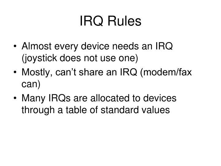IRQ Rules