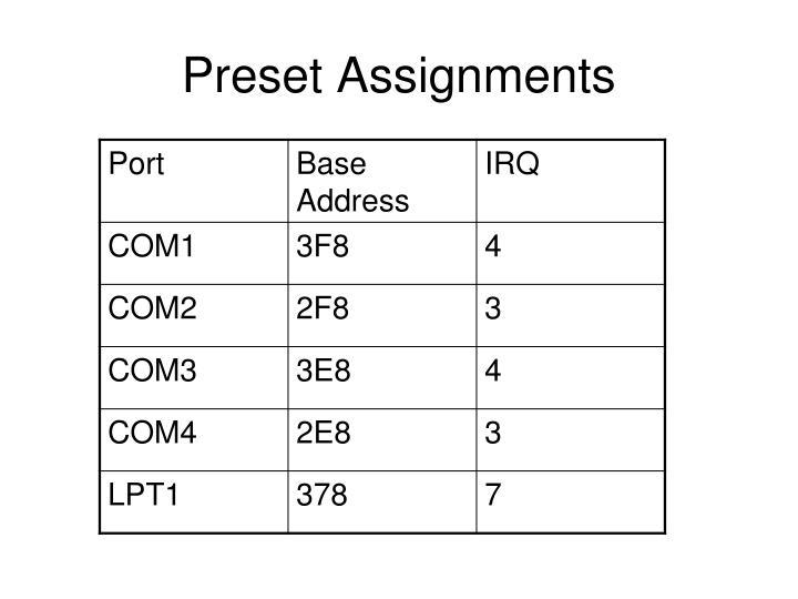 Preset Assignments