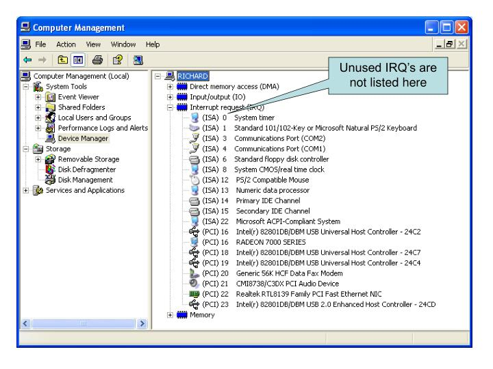 Unused IRQ's are not listed here