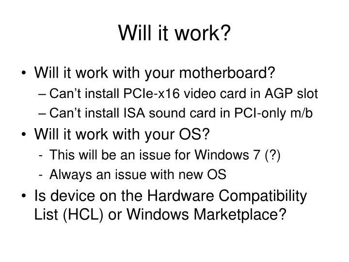 Will it work?