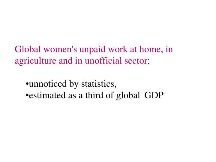 Global women's unpaid work at home, in agriculture and in unofficial sector