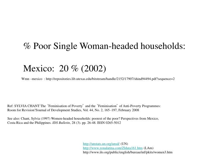 % Poor Single Woman-headed households: