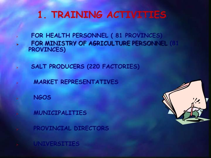 1. TRAINING ACTIVITIES