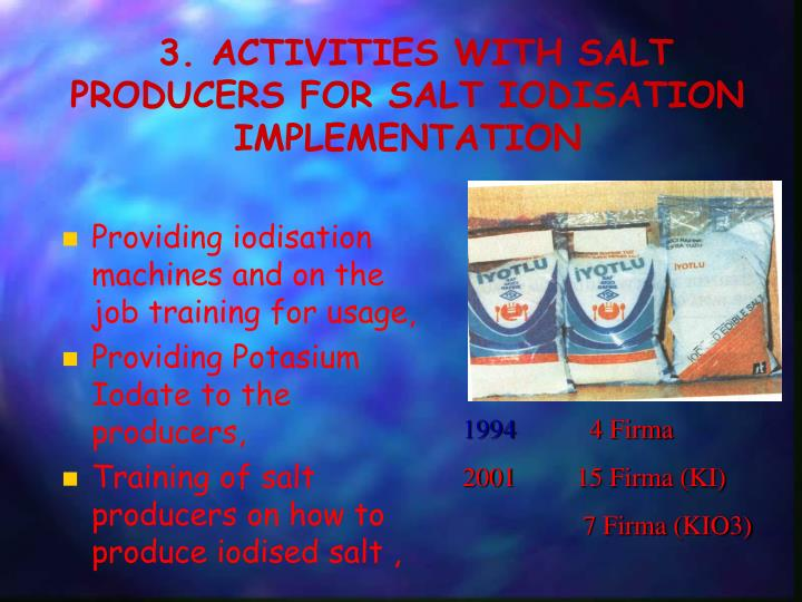 3. ACTIVITIES WITH SALT PRODUCERS FOR SALT IODISATION IMPLEMENTATION