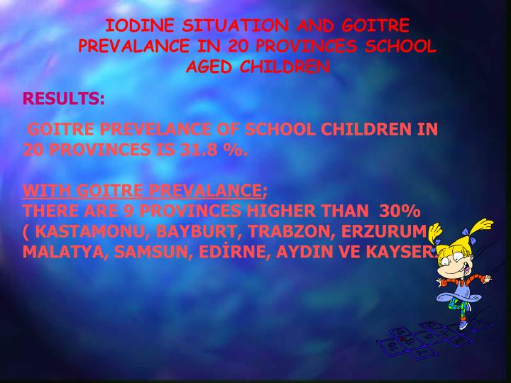 IODINE SITUATION AND GOITRE PREVALANCE IN 20 PROVINCES SCHOOL AGED CHILDREN