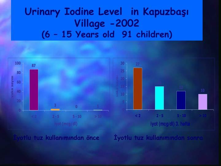 Urinary Iodine Level  in Kapuzbaşı Village -2002
