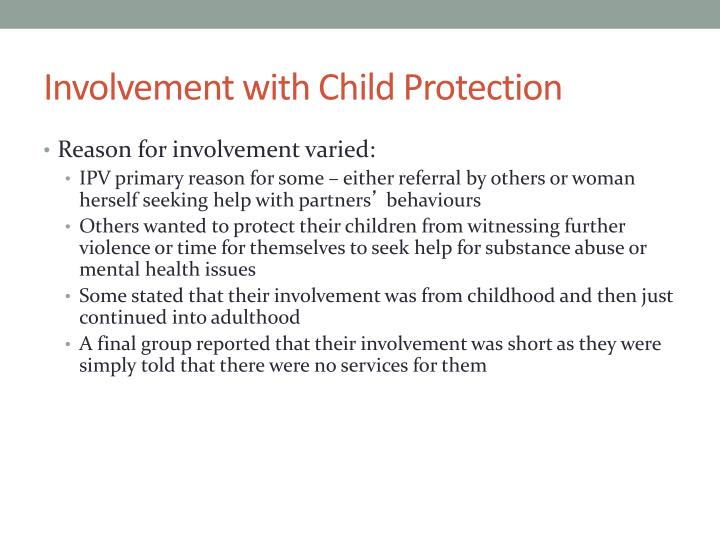 Involvement with Child Protection