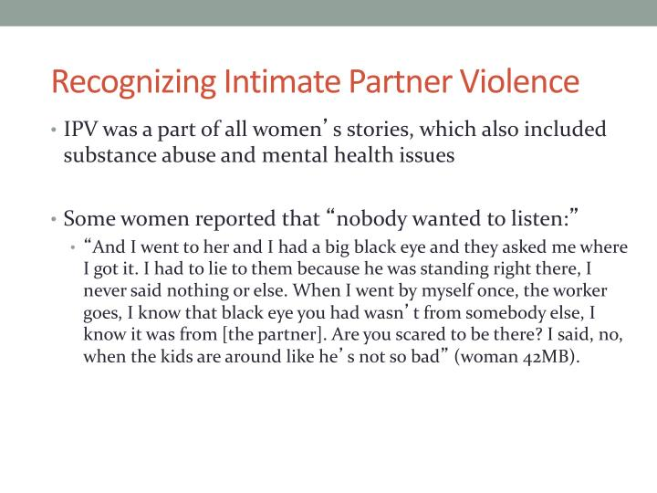 Recognizing Intimate Partner Violence