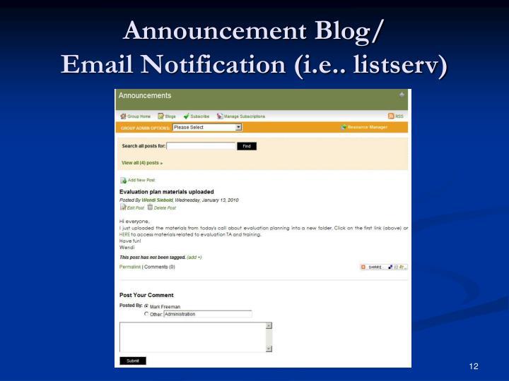 Announcement Blog/