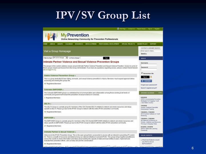 IPV/SV Group List