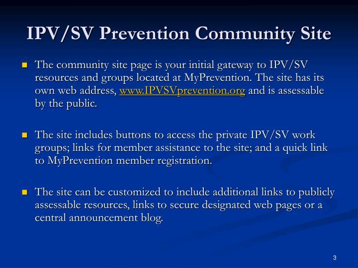 IPV/SV Prevention Community Site
