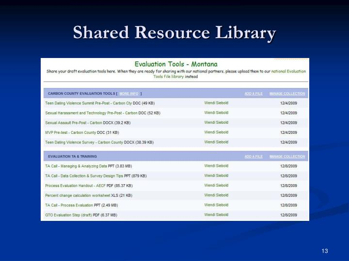 Shared Resource Library