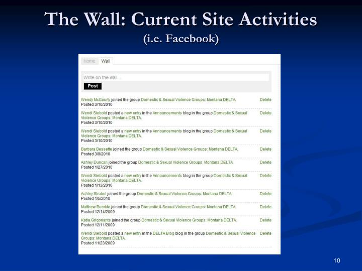 The Wall: Current Site Activities