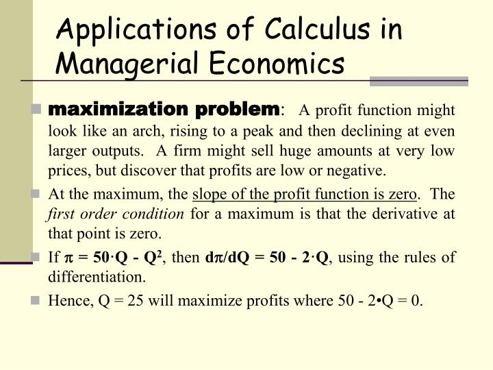 Applications of Calculus in Managerial Economics