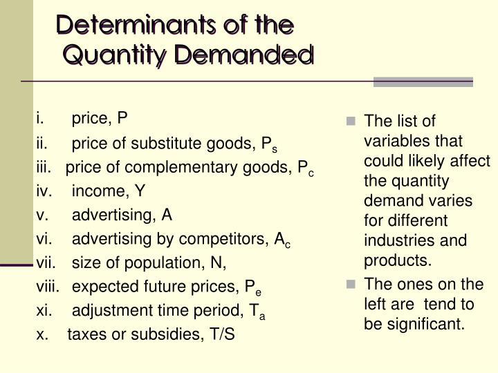 Determinants of the