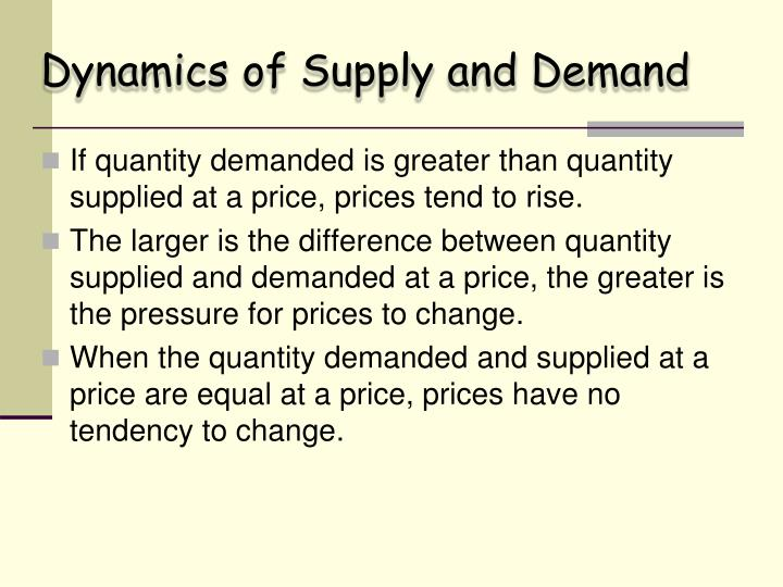 Dynamics of Supply and Demand