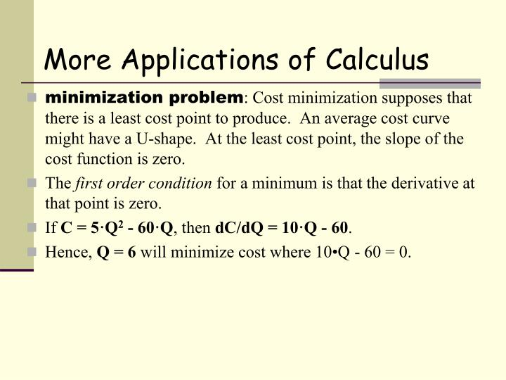More Applications of Calculus