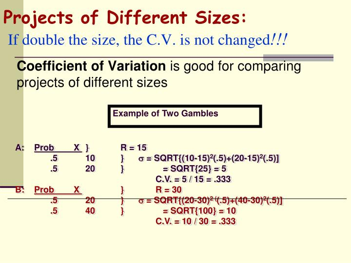 Projects of Different Sizes: